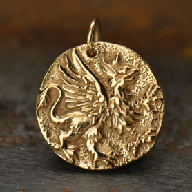 VNA1088 -BZ-CHRM Ancient Coin Jewelry Charm - Griffin - Bronze