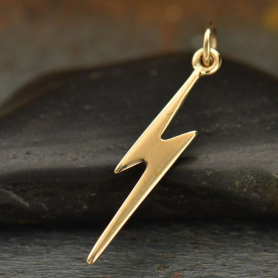 VNA1153 -BZ-CHRM Lightning Bolt Jewelry Charm - Bronze