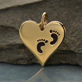 VNA1407 -BZ-CHRM Heart Jewelry Charm with Etched Footprints - Bronze
