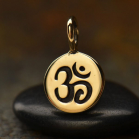 VNA646  -BZ-CHRM Small Round Jewelry Charm with Etched Om - Bronze