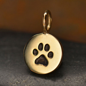 VNA682  -BZ-CHRM Round Bronze Jewelry Charm with Etched Paw Print