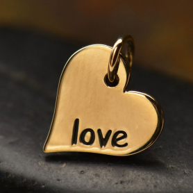 VNA686  -BZ-CHRM Word Charm Love in Heart Shape - Bronze DISCONTINUED