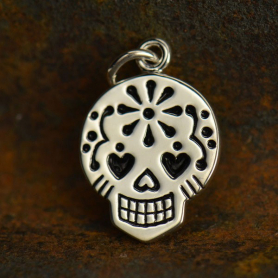 VSA1073 -BZ-SVP-CHRM Small Sugar Skull Charm - Silver Plated Bronze DISCONTINUED