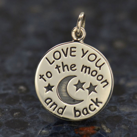 VSA1459 -BZ-SVP-CHRM Love You to the Moon Charm Silver Plated Bronze DISCONTINUED
