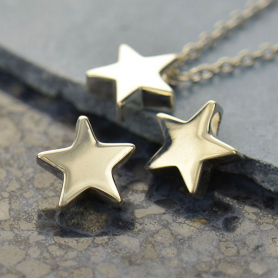 VSA1599 -BZ-SVP-BEAD Small Star Bead - Silver Plated Bronze DISCONTINUED