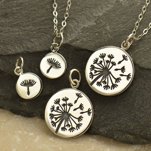 VSA1623 -BZ-SVP-CHRM Big and Little Dandelion Charm Set - Silver Plated Bronze