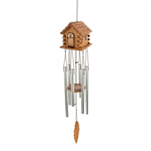 30542PKA OLYMPIA CUBS - WIND CHIME, WITH SCULPTED WOOD CABIN