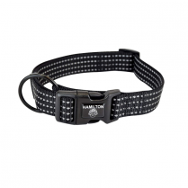 "35808 Hamilton 5/8"" Reflective Adj Dog Collar 12-18"" Black"