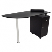 F-FF-DES-UNB-010 Manicure Table with Side Cupboard, Drawer & Chrome Leg-Black