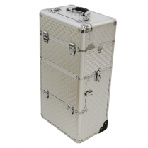 H-SA-CTB-UNB-003 Make-Up Carry Case - Silver (Large) with Pull up handle