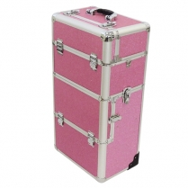 H-SA-CTB-UNB-004 Make-Up Carry Case - Pink (Large) with Pull up handle