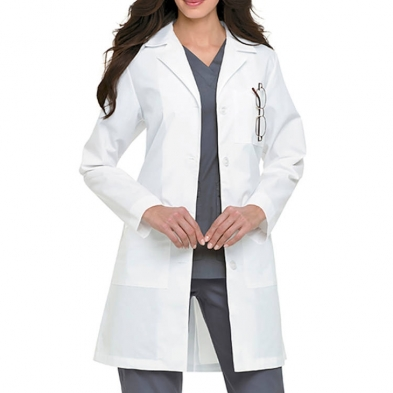 Landau Women's Lab Coat - 4 Button Belt Style