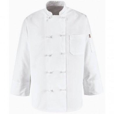 Chef Designs Ten Knot Button Spun Poly Chef Coat w/Thermometer Pocket