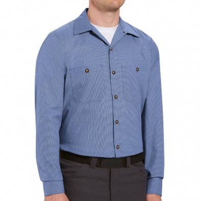 Red Kap Men's Geometric Micro-Check Long Sleeve Work Shirt
