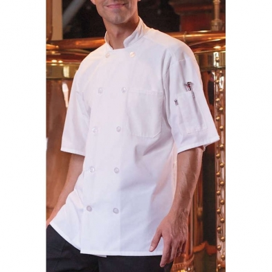 Uncommon Threads Delray with Mesh Back Short Sleeve with 10 Matching Button Chef Coat