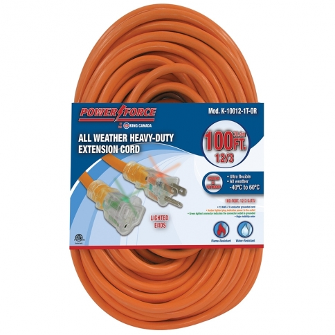 K-10012-1T-OR 100' 12/3 SINGLE TAP EXTENSION CORD- ORANGE