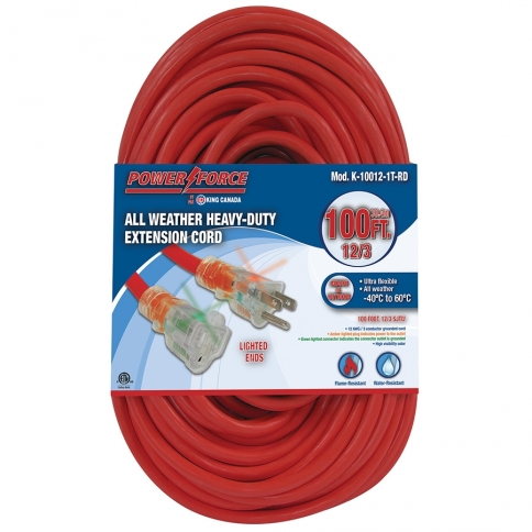 K-10012-1T-RD 100' 12/3 SINGLE TAP EXTENSION CORD- RED