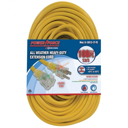 K-10012-1T-YE 100' 12/3 SINGLE TAP EXTENSION CORD- YELLOW