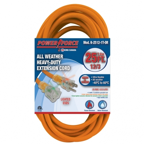 K-2512-1T-OR 25' 12/3 SINGLE TAP EXTENSION CORD- ORANGE