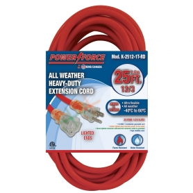 K-2512-1T-RD 25' 12/3 SINGLE TAP EXTENSION CORD- RED