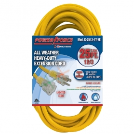 K-2512-1T-YE 25' 12/3 SINGLE TAP EXTENSION CORD- YELLOW