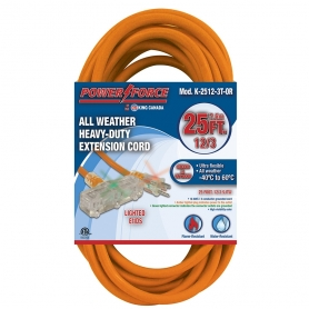 K-2512-3T-OR 25' 12/3 TRI-TAP EXTENSION CORD- ORANGE