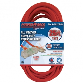 K-2512-3T-RD 25' 12/3 TRI-TAP EXTENSION CORD- RED