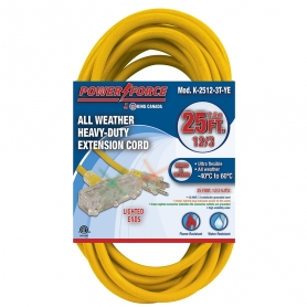 K-2512-3T-YE 25' 12/3 TRI-TAP EXTENSION CORD- YELLOW