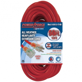 K-5012-1T-RD 50' 12/3 SINGLE TAP EXTENSION CORD- RED
