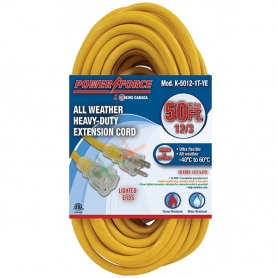 K-5012-1T-YE 50' 12/3 SINGLE TAP EXTENSION CORD- YELLOW