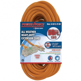 K-5012-3T-OR 50' 12/3 TRI-TAP EXTENSION CORD- ORANGE