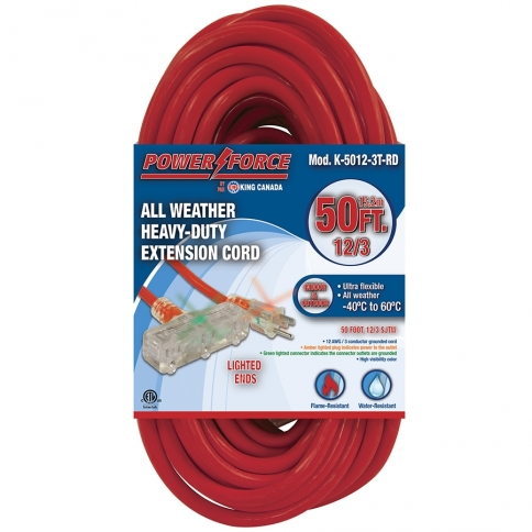 K-5012-3T-RD 50' 12/3 TRI-TAP EXTENSION CORD- RED