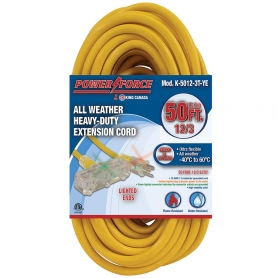 K-5012-3T-YE 50' 12/3 TRI-TAP EXTENSION CORD- YELLOW