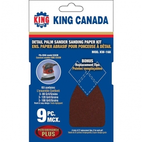 KW-168 9 PC. DETAIL PALM SANDER SANDING PAPER KIT