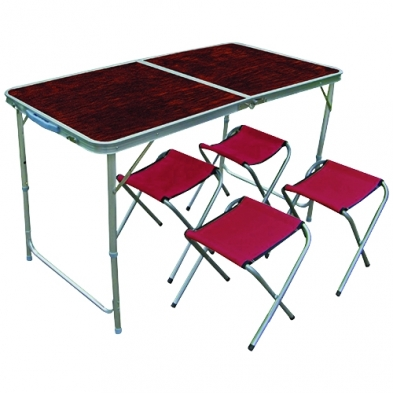 9119210055 Table Alu Folding Red & Chairs