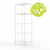 663-513 White Powder Coated Wire Shelving 455 x 610 (5 shelves)