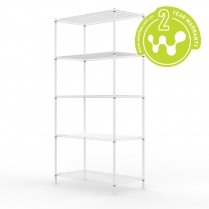 663-514 White Powder Coated Wire Shelving 455 x 910 (5 shelves)