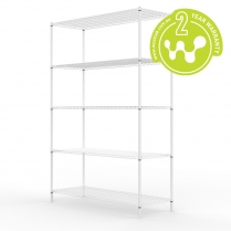 663-515 White Powder Coated Wire Shelving 455 x 1220 (5 shelves)