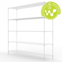 663-517 White Powder Coated Wire Shelving 455 x 1825 (5 shelves)