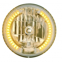 "UP31378 7"" Crystal Halogen Headlight with 34 Amber LED"