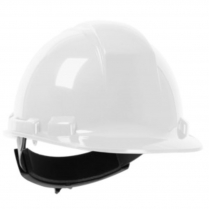 WHITE HARD HAT WITH 4 POINT FAS-TRAC SUSPENSION