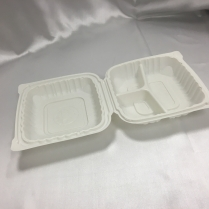 """PP Hinged Container 3-Comp. White 8x8x2.5"""" 180/cs"""