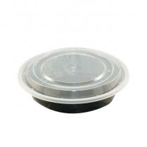 PCM 16oz Black Round Container (RC16) 150set/cs