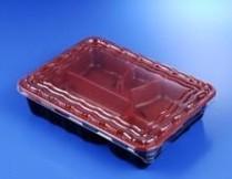 K028 Bento Box 5 Compartment Red&Black 500/cs