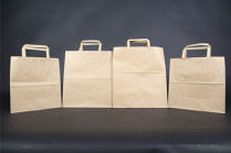 "CM6 Kraft Flat Handle Paper Bag (M) 10.25x12x6.7"" 300/cs"