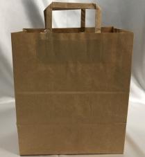 "CM8  Kraft Flat Handle Paper Bag ( L) 13x7.75x13"" 150/cs"