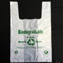"Bio Eco T-Shirt Bag 12""+7""x23"" (L) 18mic 1000/cs"