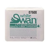 """2Ply 8F 16x17"""" White Swan Dinner Napkin 2400/cs"""