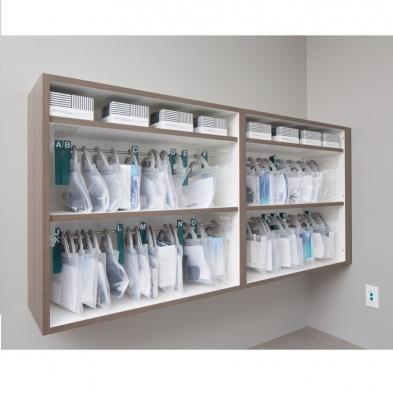 Delivery bag system, eyewear storage system, in cabinet bag storage