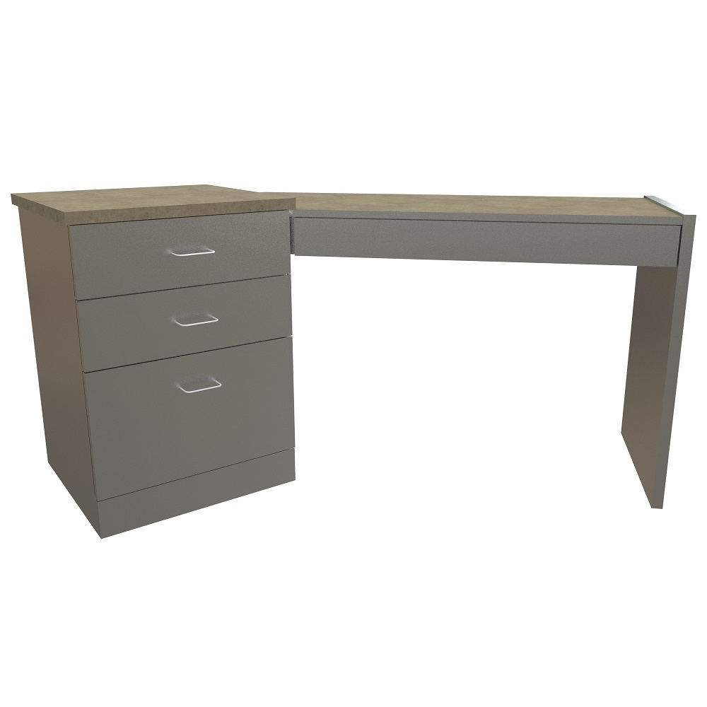 Angled Left Hand Table with 3 Drawer Pedestal